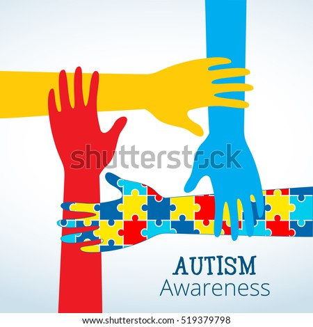 Autism Awareness Concept Hand Puzzle