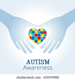 Autism awareness concept with heart of puzzle pieces as symbol of autism.