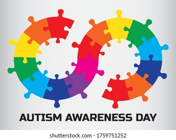 Autism Awareness Day. Infinity puzzle vector.