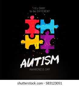 Autism Awareness Day. It's okay to be different. Trend lettering. Multicolored puzzle of brush strokes. Healthcare concept. Vector illustration on a black background