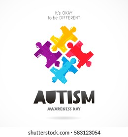 Autism Awareness Day. It's okay to be different. Trend lettering. Multicolored puzzle of brush strokes. Healthcare concept. Vector illustration on white background
