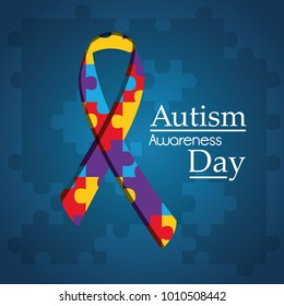 autism awareness day puzzle shape ribbon blue background
