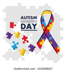 autism awareness day puzzles shape ribbon celebration card