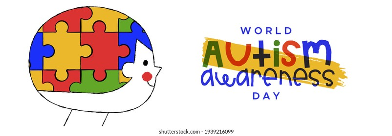 Autism Awareness Day web banner illustration of child head with puzzle game inside in funny kid cartoon doodle style. Autistic children psychology support concept for april 2 event.