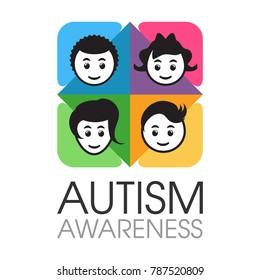 Autism awareness design concept of children against colourful background.