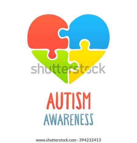 Autism Awareness Heart Jigsaw Puzzle Symbol Stock Vector Royalty