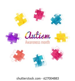 Autism awareness month colorful background with puzzles and calligraphic text. Blue, yellow and violet puzzles pieces. Vector illustration