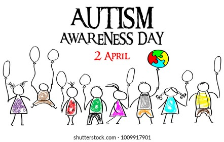 Autism Awareness Month. Multicolored puzzle in the form balloons. Doodle kids with balloons. Healthcare concept.