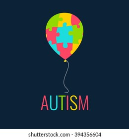 Autism awareness poster with a colorful balloon made of puzzle pieces. Disease solidarity day. Vector illustration.