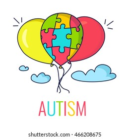 Autism awareness poster with colorful balloons made of puzzle pieces. Medical concept. Vector illustration.