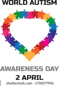 Autism awareness poster with a heart made of multicolored puzzle pieces