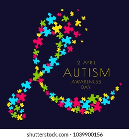 Autism awareness poster with a ribbon made of multicolored puzzle pieces on dark background. Social interaction and communication disorder. Solidarity and support symbol. Vector medical illustration.