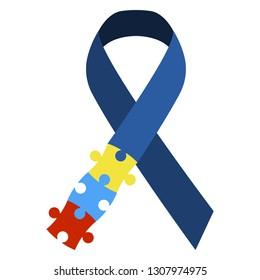 Autism Awareness Ribbon - Colorful autism awareness ribbon isolated on white background