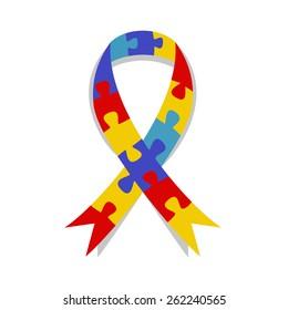 Autism awareness ribbon, puzzle patter, vector illustration symbol