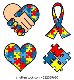 Autism Awareness symblos: hands, ribbon, heart, puzzle