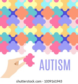 Autism awareness vector poster with jigsaw puzzle on white background. Hand holding a piece. Cooperation, collaboration, working together. Connection pieces. Solidarity and support, medical concept.