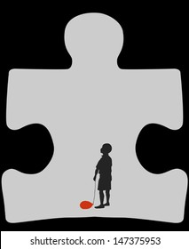 Autism cave. Silhouette of autistic child with a deflated red air balloon, standing in a cave in a shape of a symbol for autism