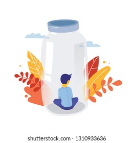 Autism. Child behind the glass. Early signs of autism syndrome in children. Vector emblem. Children autism spectrum disorder ASD icon. Signs and symptoms of autism in a child