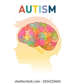 Autism concept vector illustration with child head and colorful brains.