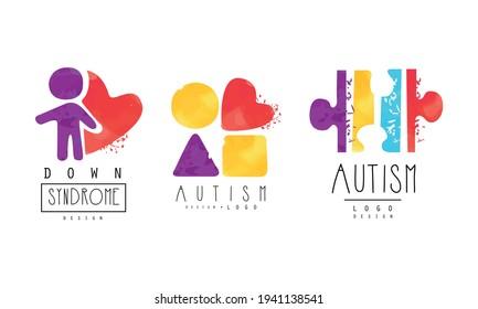 Autism and Down Syndrome Bright Logo Design Templates Set, Awareness Concept, Kids Center, Charitable Organization Colorful Emblem Vector Illustration