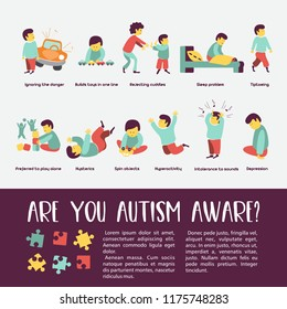 Autism. Early signs of autism syndrome in children. Children autism spectrum disorder ASD icons. Signs and symptoms of autism in a child, such as ADHD, OCD, depression, there, epilepsy and hyperactivi