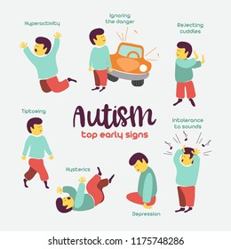 Autism. Early signs of autism syndrome in children.  Children autism spectrum disorder ASD icons. Signs and symptoms of autism in a child, such as ADHD, OCD, depression, there, epilepsy and hyperactiv