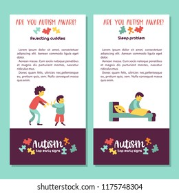Autism. Early signs of autism syndrome in children. Vector illustration. Children autism spectrum disorder ASD icons. Signs and symptoms of autism in a child.