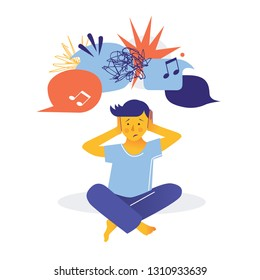 Autism. Early signs of autism syndrome in children. Signs and symptoms of autism in a child. Vector flat illustration