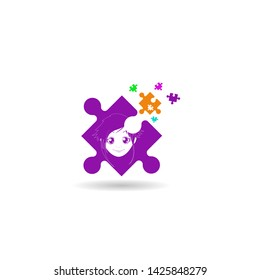 Autism. Early signs of autism syndrome in children. Vector emblem. Children autism spectrum disorder ASD icon. Signs and symptoms of autism in a child