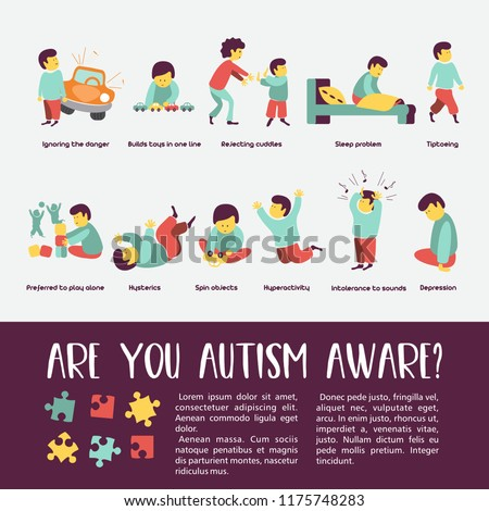 Autism Early Signs Of Autism Syndrome In Children Children Autism Spectrum Disorder Asd Icons