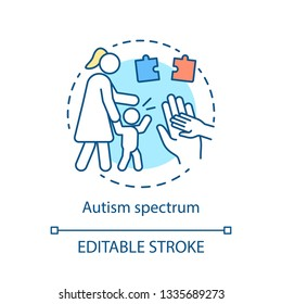 Autism spectrum disorder concept icon. ASD therapy idea thin line illustration. Autistic syndrome care vector isolated outline drawing. Child mental, cognitive disease treatment. Editable stroke