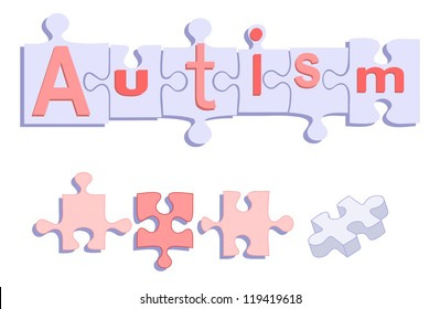 Autism Title on Puzzle- Use this bold vector to illustrate your article on genetic, behavioral, or educational topics. Easy to edit and makes your work stand out- no gradients or transparencies.