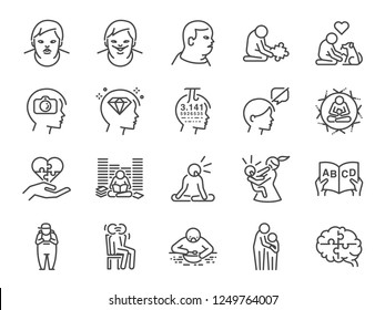 Autistic awareness icon set. Included the icons as autism, Savant syndrome, ASD, abnormal, disorder and more.