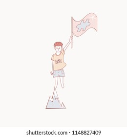 Autistic boy standing on top of a mountain and holding a flag with ASD symbol. World autism awareness day. Vector illustration.