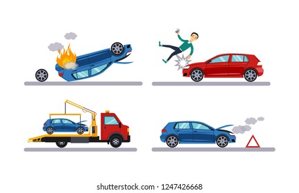Auto accidents set, car crash, man hitting by a car, evacuation flat vector Illustration on a white background