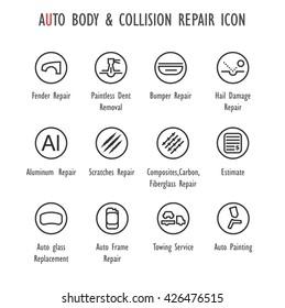 Auto Body & Collision Repair vector  icon set  (Fender,Bumper,Hail Damage,Aluminium,Scratches,Composites,Carbon,Fiberglass,Auto glass,Frame Repair,Auto Painting,Estimate, Towing Service)