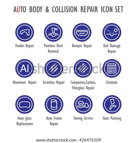 Auto Body Collision Repair Vector Color Stock Vector (Royalty Free ...