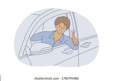 Auto, buy, driving, approval concept. Young happy smiling african american man guy cartoon character sitting in car showing like sign. Carsharing buying purchasing new transport vehicle illustration.