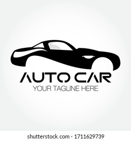 Auto Car Black White Vector Logo Template