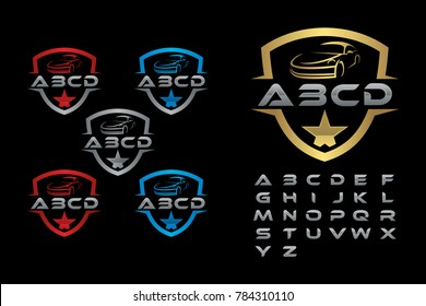 Auto car, Car logo template, Sport car with silver alphabet logo element