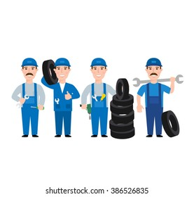 auto car mechanics set. mechanic in uniform with tool wrench tires isolated on white background.car service worker.