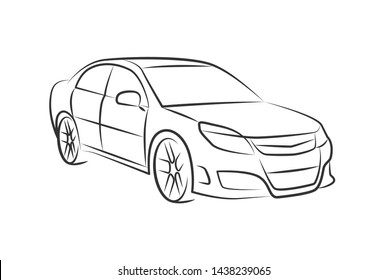 auto car monochrome detailed vector illustration. black vehicle outline perspective sketch isolated on white background