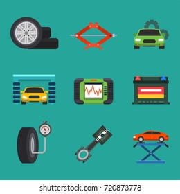 Auto car repair service symbols isolated shop worker maintenance transportation automotive mechanic vector illustration.