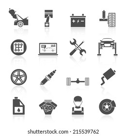 Auto car service icons black set of battery tires wheel engine brake repair isolated vector illustration.