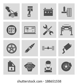 Auto car service icons set of battery tires wheel engine brake repair isolated vector illustration.