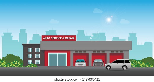 Auto car service and repair center or garage with cars, landscape exterior building car service station vector illustration.