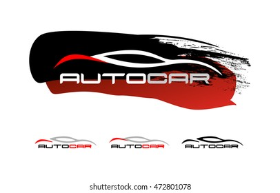 Auto car service salons set of logos, emblems , badges .Vector image of the car on the strokes of brush lettering auto car.