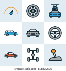 Auto Colorful Outline Icons Set. Collection Of Automobile, Washing, Drive And Other Elements. Also Includes Symbols Such As Scheme, Level, Speedometer.