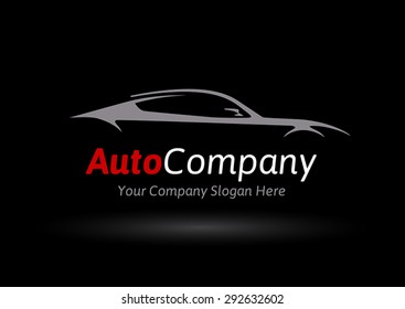 Auto Company Logo Vector Design Concept with Sports Car Silhouette 02