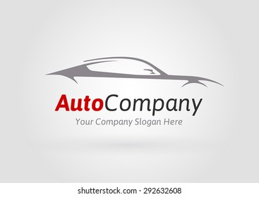 Auto Company Logo Vector Design Concept with Sports Car Silhouette 01